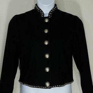 Jacket Blazer cropped black silver studded wool